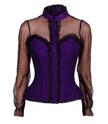 paars overborst corset blouse