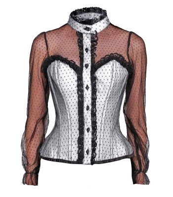 wit overborst corset blouse